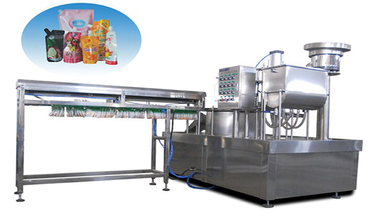 Stand up spout bags filling capping machine automatic with bag loading system for juice liquid jelly milk packaging automated bags filler sealer equipment