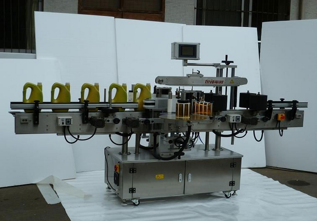 Double sided labeling machine automatic bottles two sides laber equipment for shampoo lotion containers