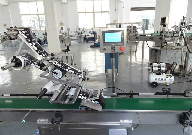 flat surface top labeling machine automatic cartons boxes cream jars bottles booklets food flat labeler equipment