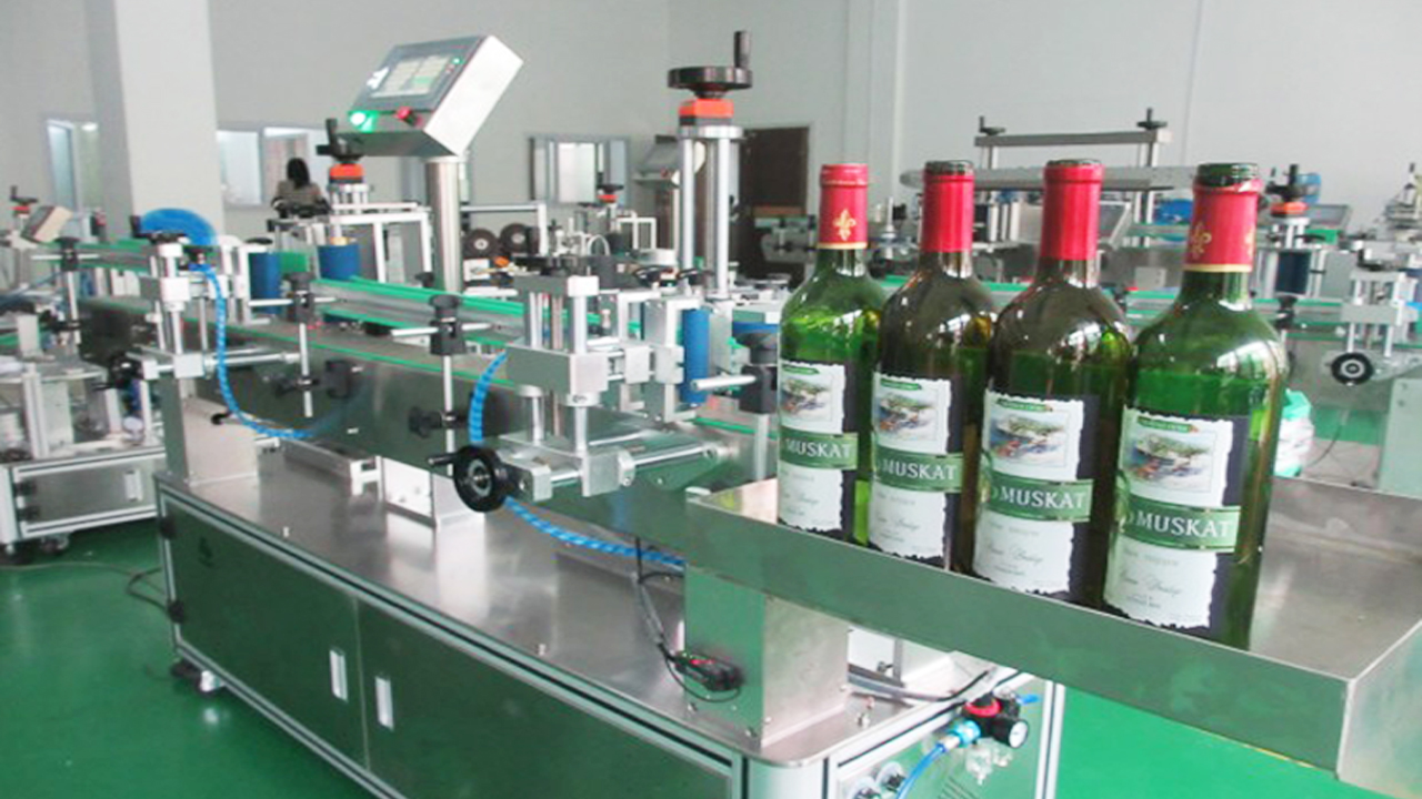 round glass bottles plastic container wine labeling machine double heads body neck labeler equipment automatic