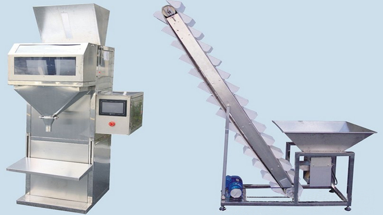Semi Automatic Nuts Beans Granule Weighing Filling Machine manual Grain electric scale Filler Weigher bucket elevator materials feeding system