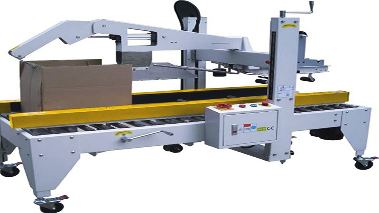 Semi automatic Carton Flaps Folding Machine carton baxes sealer equipment with adhesive tapes folding cover sealing machinery